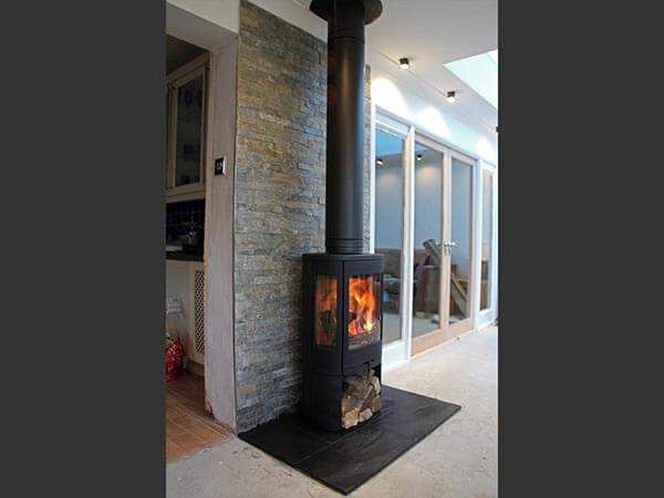slate Tiled Fireplace backing