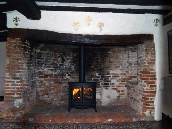 Red brick inglenook fireplace